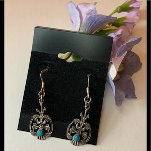 Boho chic silver earrings with teal blue stone